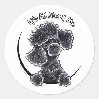 Black Toy Poodle IAAM Round Sticker