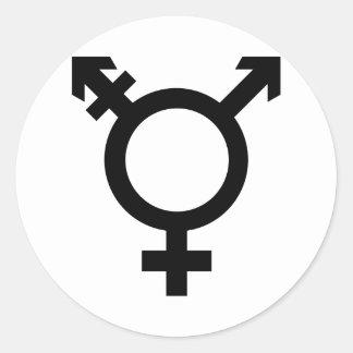 Black Transgender Symbol Round Sticker