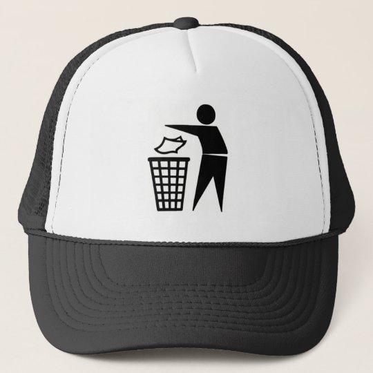 Black Trash Can Sign Cap