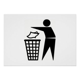 Black Trash Can Sign Print