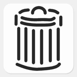 Black Trash Can Symbol Square Sticker