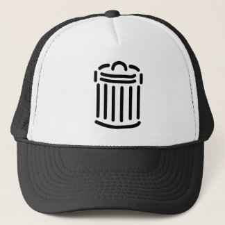 Black Trash Can Symbol Trucker Hat