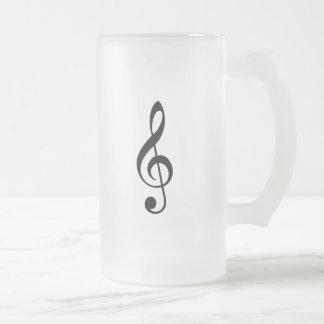 Black Treble Clef Frosted Glass Mug