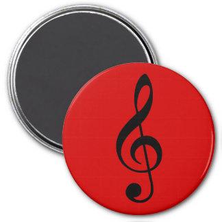 Black Treble Clef on Dark Red 7.5 Cm Round Magnet