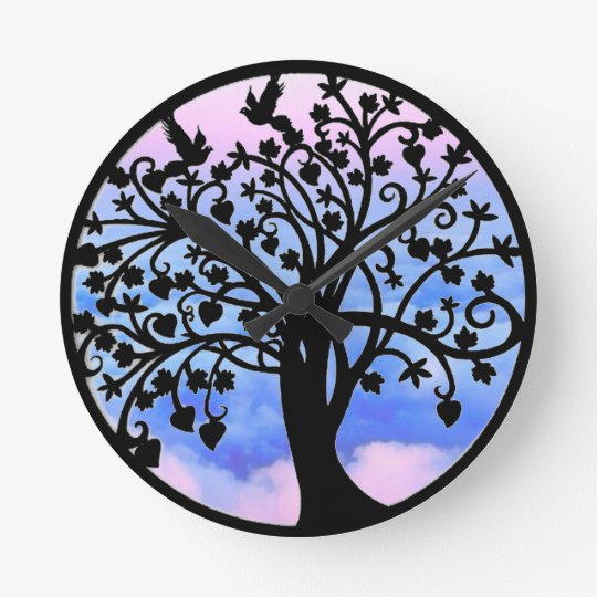 black tree of life wall clock