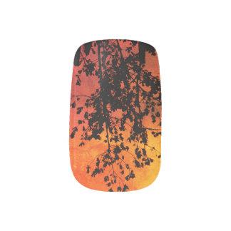Black Tree on Orange/Yellow Background Nail Art