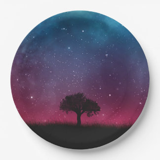 Black Tree Space Galaxy Cosmos Blue Pink Scenery Paper Plate