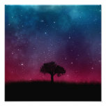 Black Tree Space Galaxy Cosmos Blue Pink Scenery Poster