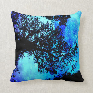 Black Trees Turquoise Periwinkle Space Pillow