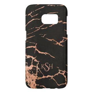 Black & Trendy Rose-Gold Marble Crackles