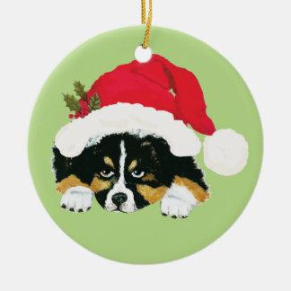 Black Tri Aussie Christmas Puppy Christmas Ornament