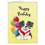 Black Tri Aussie Puppy Happy Birthday Greeting Cards