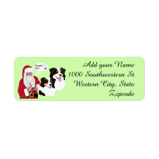 Black Tri Aussies w/ Santa Claus Naughty or Nice Return Address Label