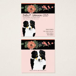 Black Tri Australian Shepherd, Black Melon Floral Square Business Card