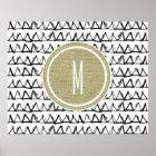 Black Triangles Gold Glitter Monogram Poster