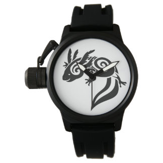 Black Tribal Axolotl Mexican Salamander Watch