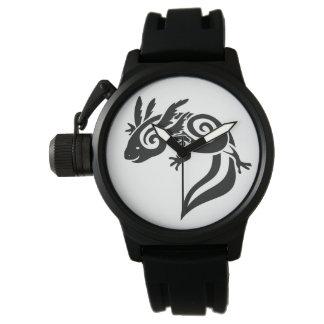 Black Tribal Axolotl Mexican Salamander Watches