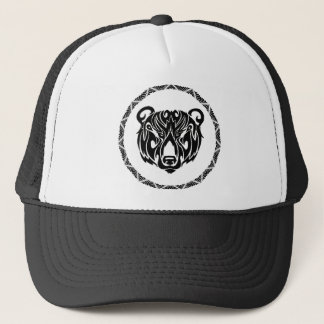 black tribal bear trucker hat