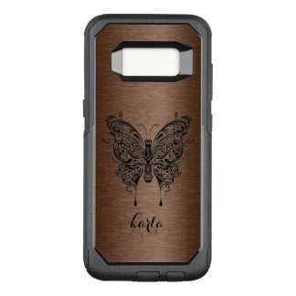 Black Tribal Butterfly Brown Metallic Background OtterBox Commuter Samsung Galaxy S8 Case
