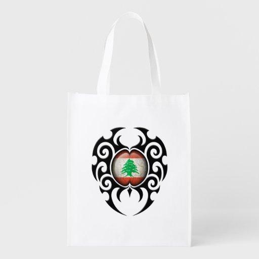 Black Tribal Cracked Lebanese Flag Reusable Grocery Bag