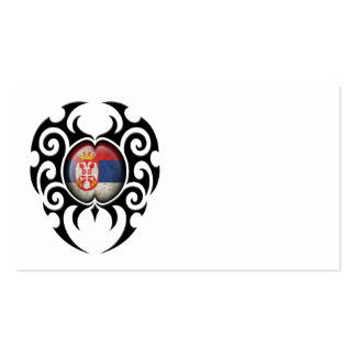 Black Tribal Cracked Serbian Flag Business Cards