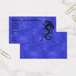Black tribal Dragon on Blue Business Card