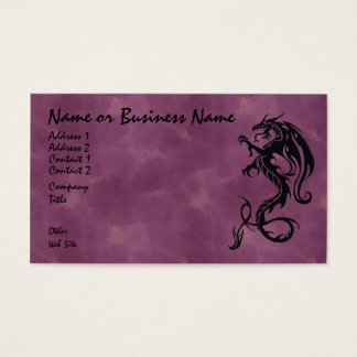 Black Tribal Dragon on Red Business Card