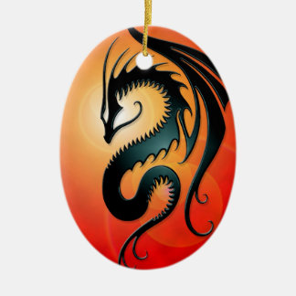 Black Tribal Dragon, red Christmas Ornament