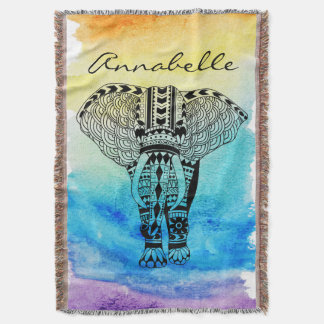 Black Tribal Elephant Rainbow Watercolor Custom Throw Blanket
