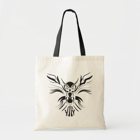 Black tribal owl Budget Tote bag