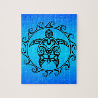 Black Tribal Turtle Jigsaw Puzzle