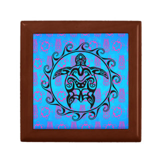 Black Tribal Turtle Small Square Gift Box