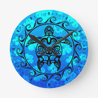 Black Tribal Turtle Wall Clocks