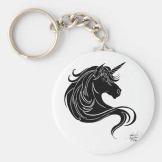 black tribal unicorn basic round button key ring