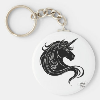 black tribal unicorn key ring