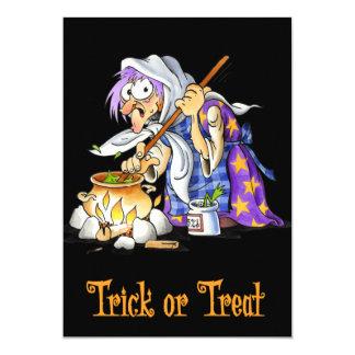 Black Trick Or Treat Halloween Cards Witch 13 Cm X 18 Cm Invitation Card