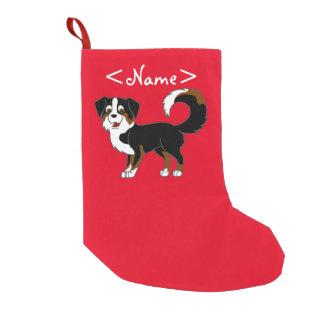 Black Tricolor Australian Shepherd Dog Small Christmas Stocking
