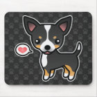 Black Tricolor Smooth Coat Chihuahua And A Heart Mouse Mat