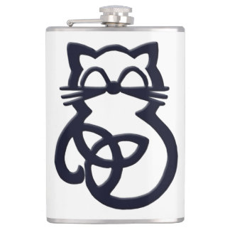 Black Trinity Knot Celtic Cat Flask