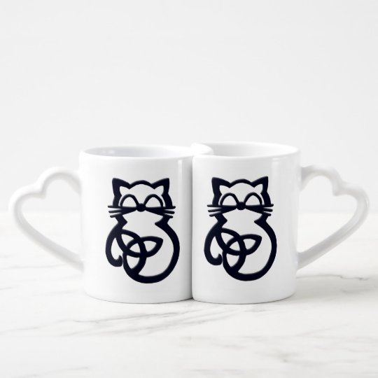 Black Trinity Knot Celtic Cat Mug Set