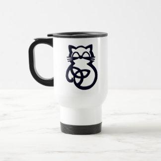 Black Trinity Knot Celtic Cat Travel Mug