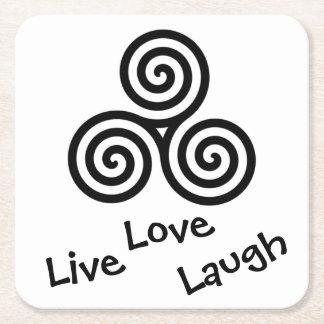 black Triple spiral Live Love Laugh on white Square Paper Coaster