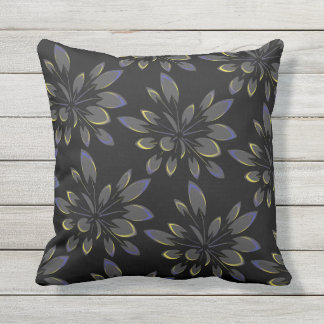Black Tropical Summer Floral Palm Trees Outdoor Cushion