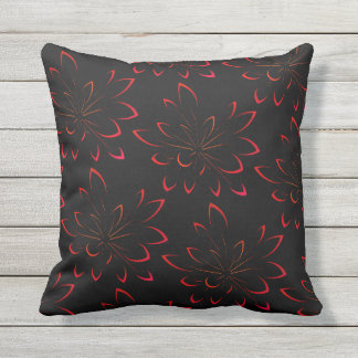 Black Tropical Summer Floral Palm Trees Outdoor Outdoor Cushion