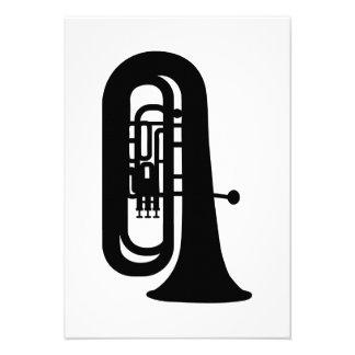 Black Tuba Personalized Invitations