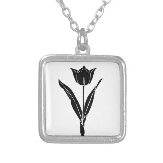 Black Tulip, Black and White, Flower, Floral Square Pendant Necklace