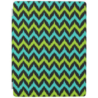 Black, Turquoise and Green Zigzag Ikat Pattern iPad Cover