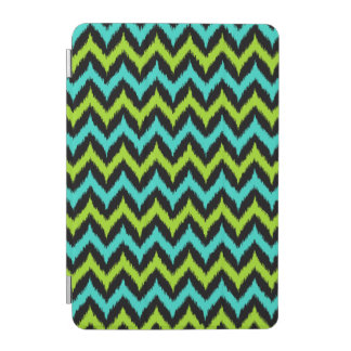 Black, Turquoise and Green Zigzag Ikat Pattern iPad Mini Cover