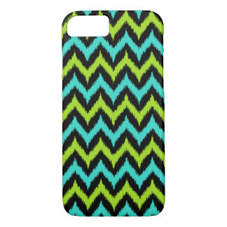 Black, Turquoise and Green Zigzag Ikat Pattern iPhone 8/7 Case