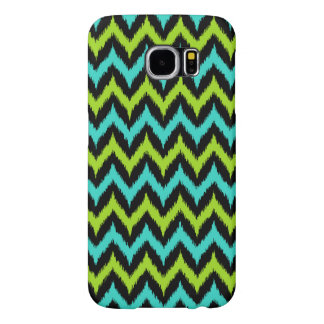 Black, Turquoise and Green Zigzag Ikat Pattern Samsung Galaxy S6 Cases